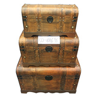 Antique reproduction steamer wooden trunk for decorative