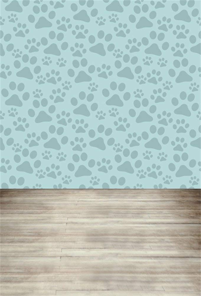 Laeacco Cartoon Animal Footprint Mint Green Pawprints Wall Retro Wooden Floor Backdrop 5x7ft Vinyl Photography Background Cute Childishness Pattern Backdrops Kids Baby Birthday Party Photo Backdrops