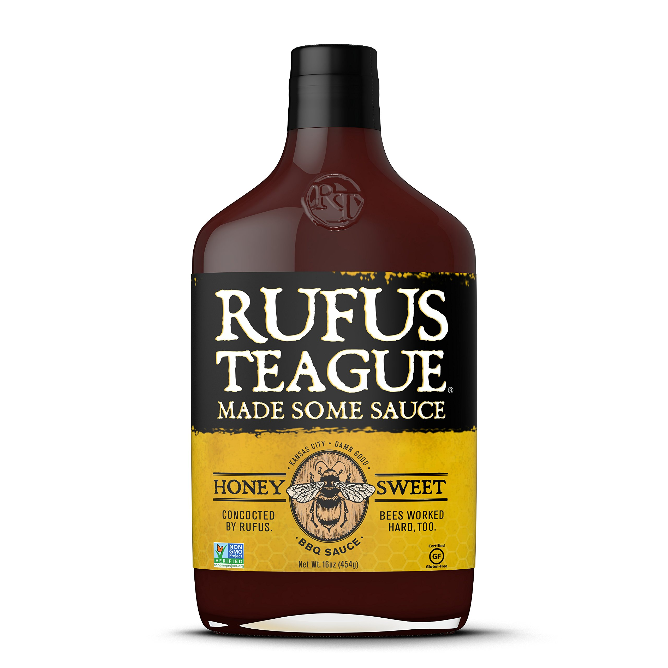 Rufus Teague- Honey Sweet BBQ Sauce-16oz. World Famous Kansas City BBQ Sauce for Chicken, Ribs, Steak, Pork Chops and Seafood. Proudly Crafted in USA- GMO Free, Gluten Free, HFC Free and Kosher.