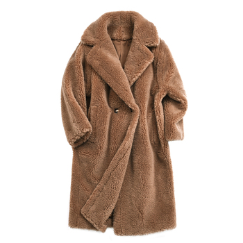 Top Fashion Star Love Real Lamb Fur Coat for Women Teddy Brown Fur Jacket