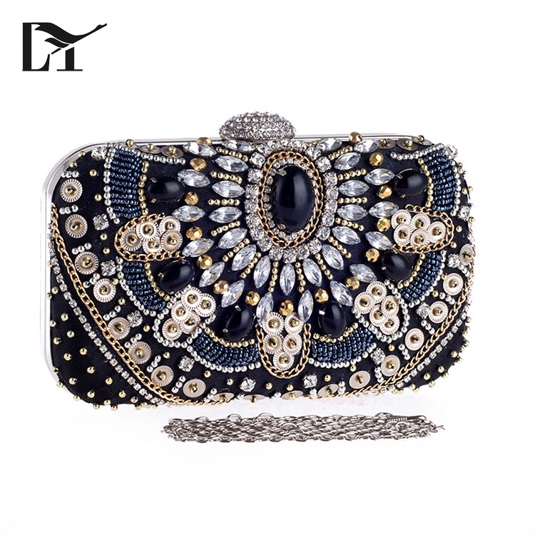 Color : Black XIAMEND Ladies Dinner Purse Crystal Clutch Luxury Rhinestone Women Evening Bag