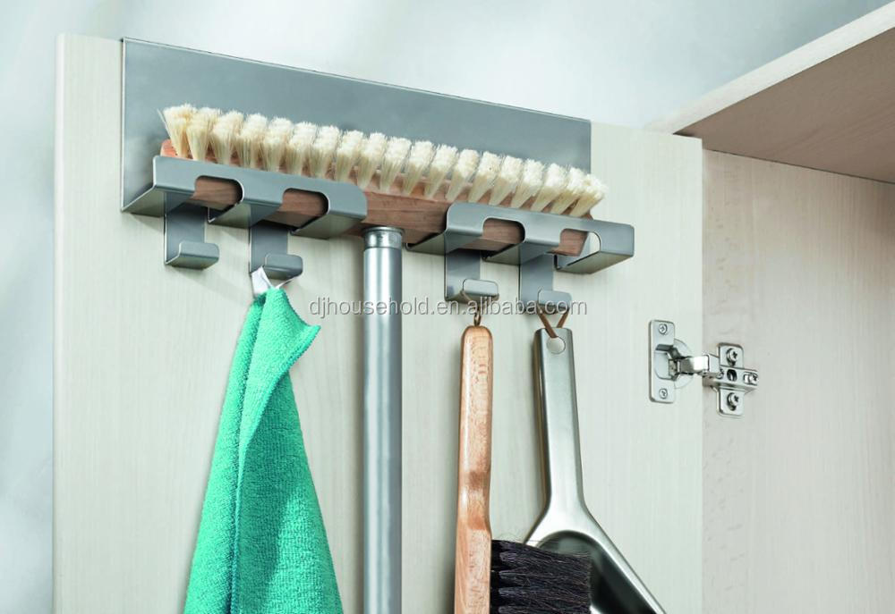 Amazing Magic Adhesive Removable Broom Mop Holder Over Door Broom Holder H6437