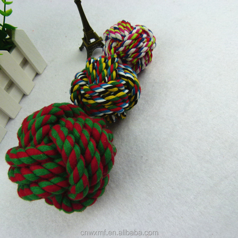 Free sample colored weave cotton rope balls toy for dog or cats exercise