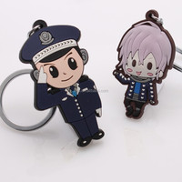 VOGRACE soft pvc rubber keyring 2D Anime rubber keychain,Soft rubber Custom pvc key chain for gift