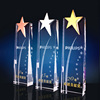 high quality classical design crystal trophy award plaque with star metal on the top