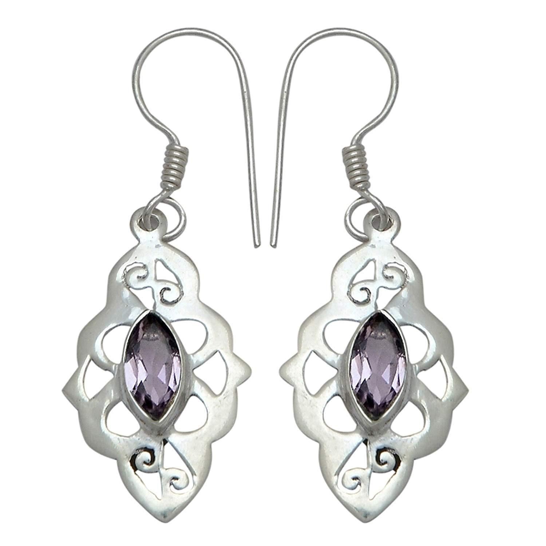 Elegantjewels 1 Pair Amethyst Quartz 925 Sterling Silver Beautiful 45x15mm Fancy Leaf Design Earring,Gemstone Handmade Earring