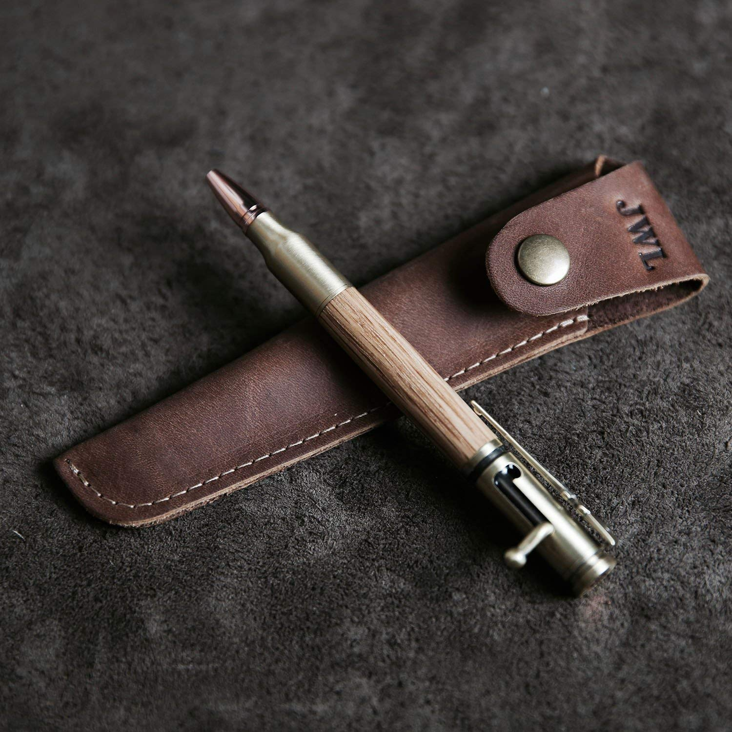 Carved Light Brown Shuxy Crazy Horse Leather Pen Case Holder Handmade Fountain Pen Pouch Protective Sleeve Cover for Ballpoint Pen Stylus Touch Pen