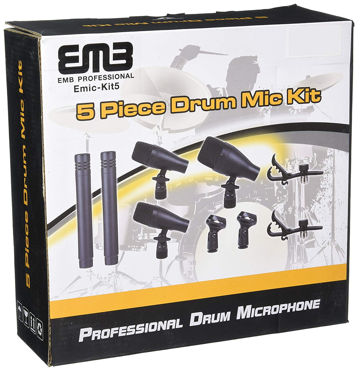 EMB EMIC-KIT5 Professional Drum Set Series 7 Piece Mic Kit For Studio Recording, Stage Performance Microphones