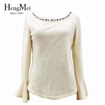 4805ca3a0f1747 2017 latest fashion top design Boat Neck Beaded nylon blouse for women