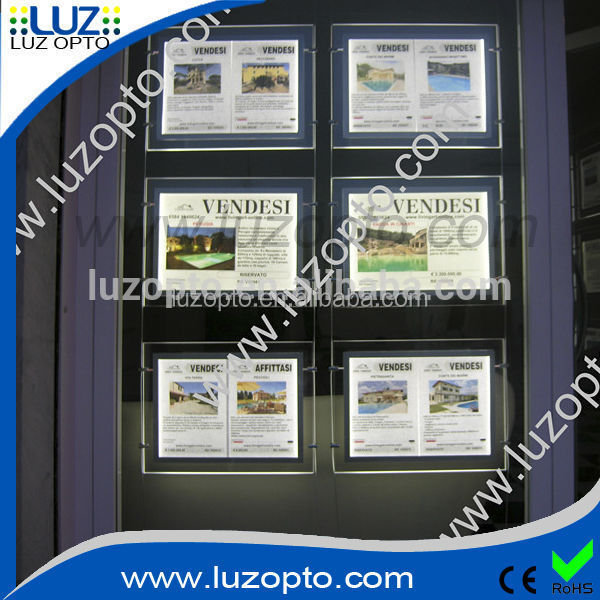led light window display,a4 single pocket,hanging window acrylic sign
