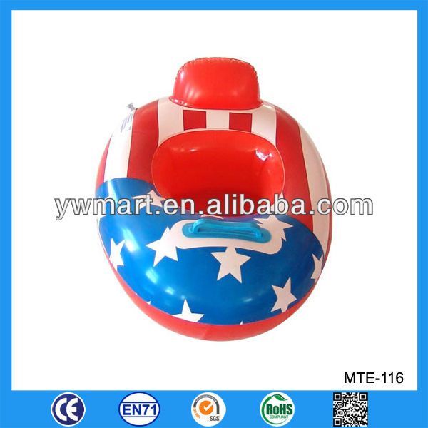 Newest inflatable flag baby beach float car, inflatable float car seat