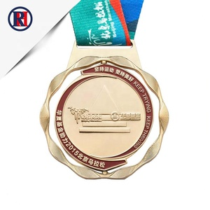 RENHUI Custom marathon running race award honor metal sport gold medal with ribbon