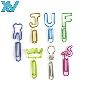 Assorted designs colorful metal wire paper clip with long rod OEM letter designed metal clip gifts
