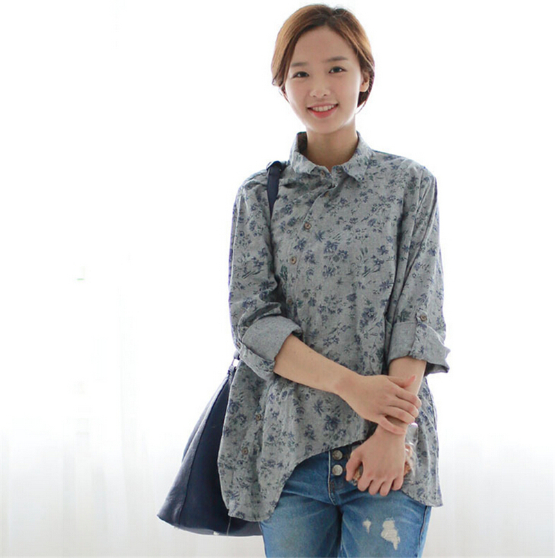 228965bbb6179 Get Quotations · 2015 Autumn Korean Sweet Floral Women Shirts Irregular Cotton  Linen Slant Oblique Button Big Size Long