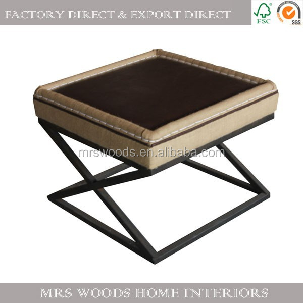 industrial style metal leg upholstered top coffee table
