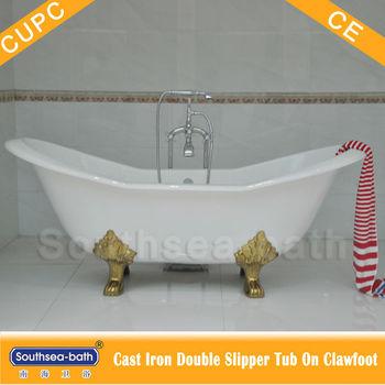 Cheap Double Slipper Clawfoot Cast Iron Bathtubfreestanding Bath