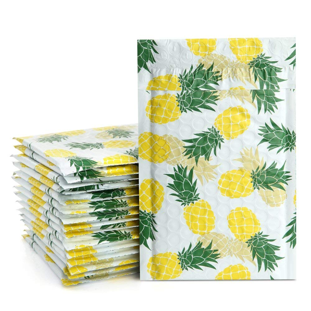 UCGOU 4x8 Bubble Mailers Pineapple Designer Padded Envelopes #000 Boutique Custom Bags Jewelry Mailers Pack of 50