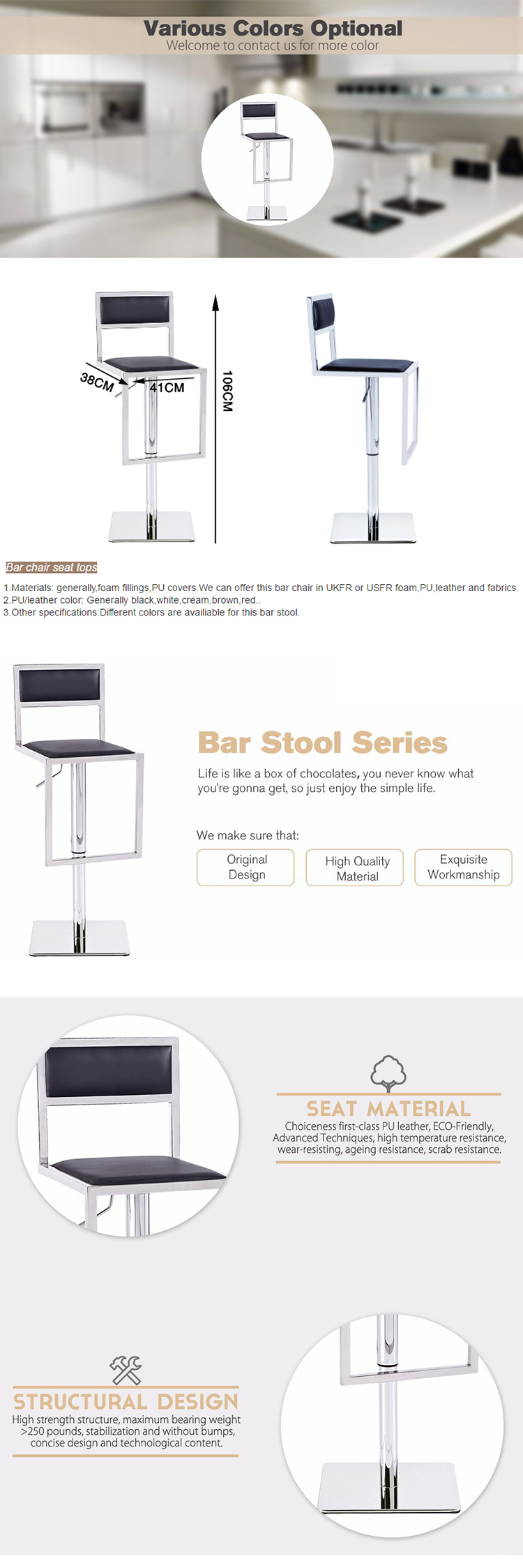 modern stainless steel frame bar high chair for restaurant