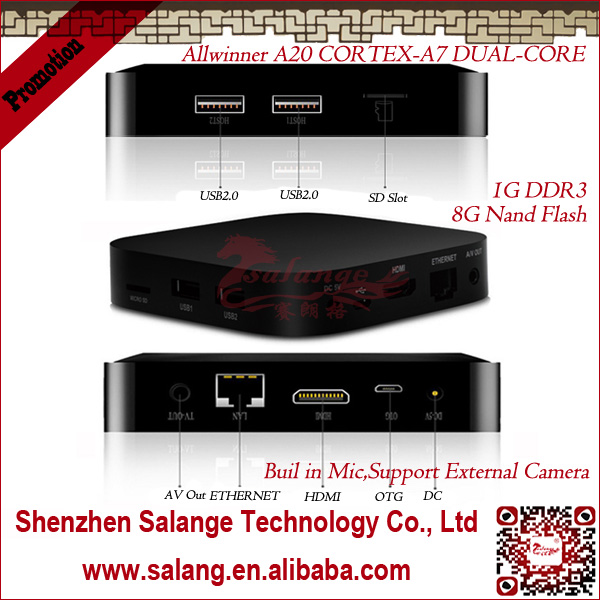 New 2014 made in China AMLogic Dual Core dlna miracast airplay android <strong>tv</strong> <strong>box</strong> by salange