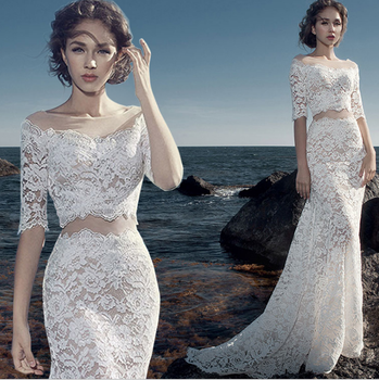 Zh2270g Sexy Slim Sheath Lace Wedding Dresses With Half Long Sleeves Two Pieces Bridal Gown Buy China Wedding Gownlace Wedding Dress