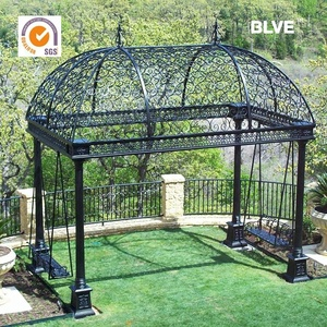 outdoor used antique square wrought iron garden gazebos IGZ-04