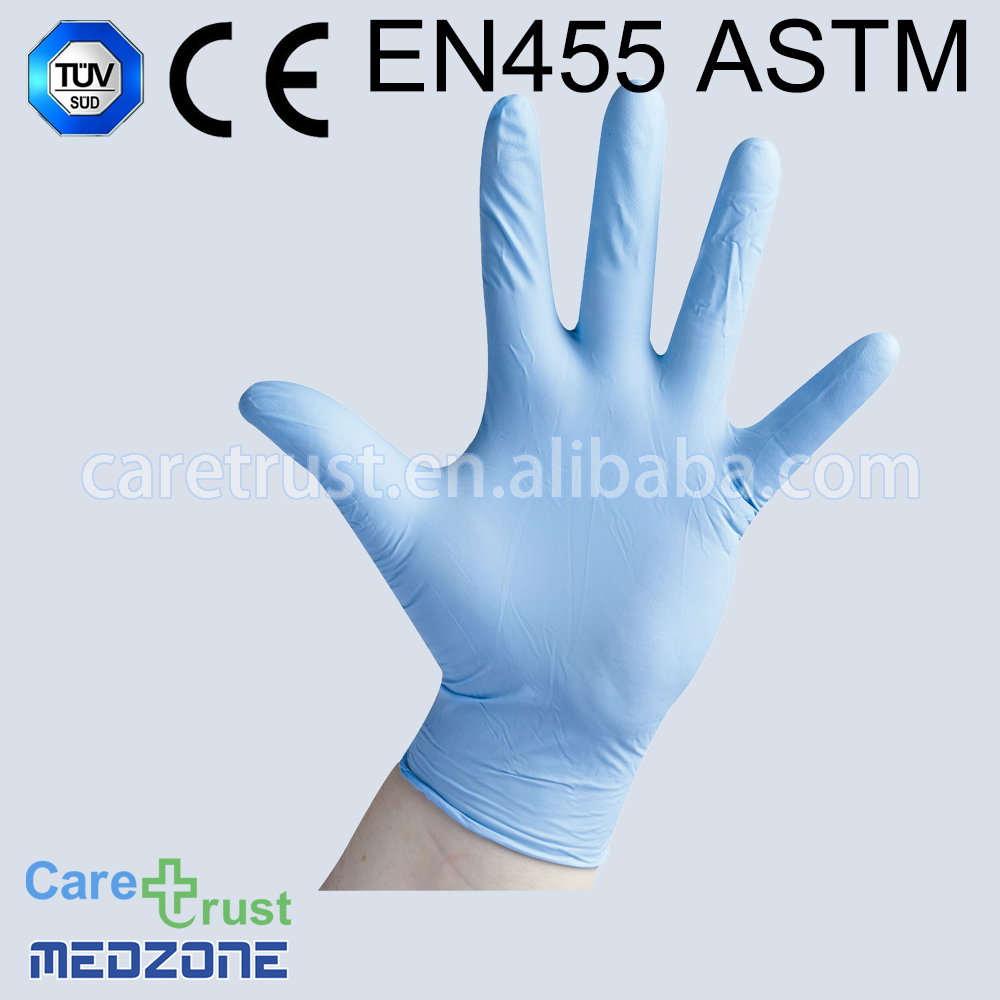 disposable blue 3.5g nitrile glove finger embossed