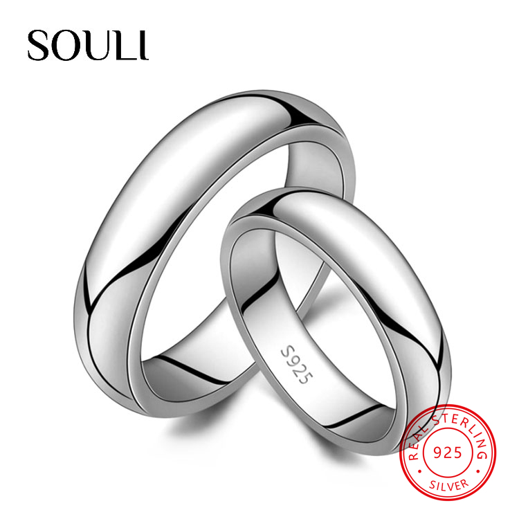 Classic Simple High Polish Blank S925 Sterling Silver Ring Lovers Couples Ring