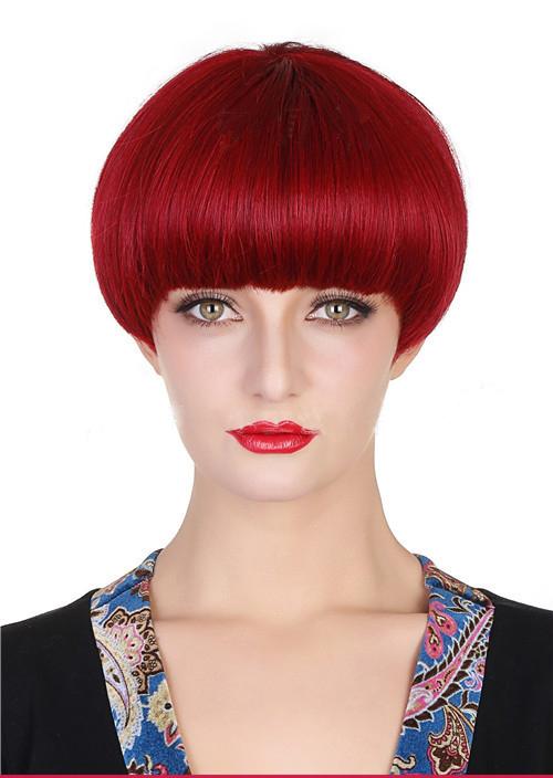 supper short bob red wine Burgundy Beatles wig huamn Hair Premium Duby BOWL CUT Wig