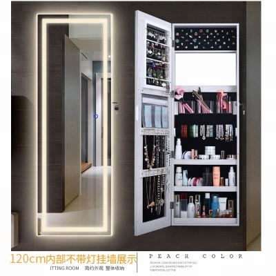 Wall Mounted Home Furniture Mirror Living Room MDF Storage Led Lockable Standing Floor Jewelry Cabinet with LED Mirror