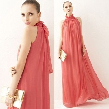Maternity Coral Pink Wedding Party Gown Long Prom Evening Maxi Dress ...