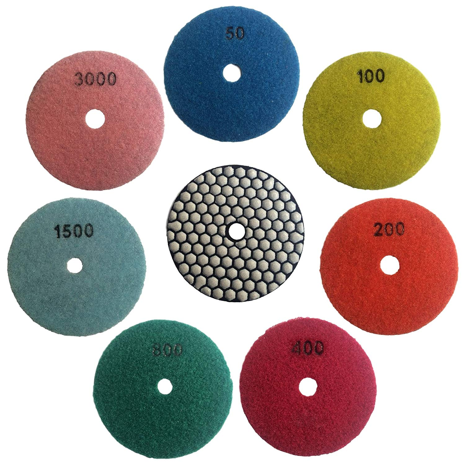 Konfor 5 Inch Dry Diamond Polishing Pads For Granite Marble Concrete Travertine Polish 7 Pcs Set
