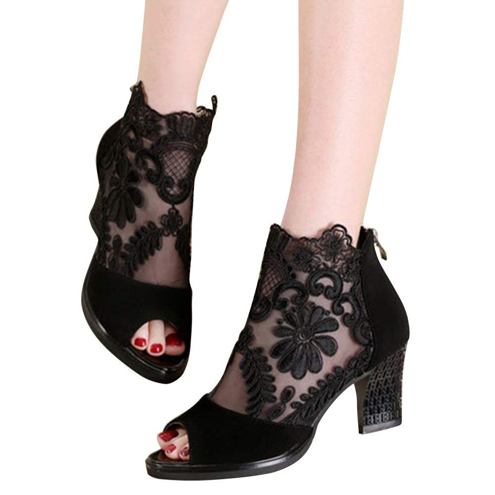 938169df5dc Get Quotations · Xiakolaka Women s Pretty Lace Flowers Open Toes Sandals High  Heels Ankle Boots