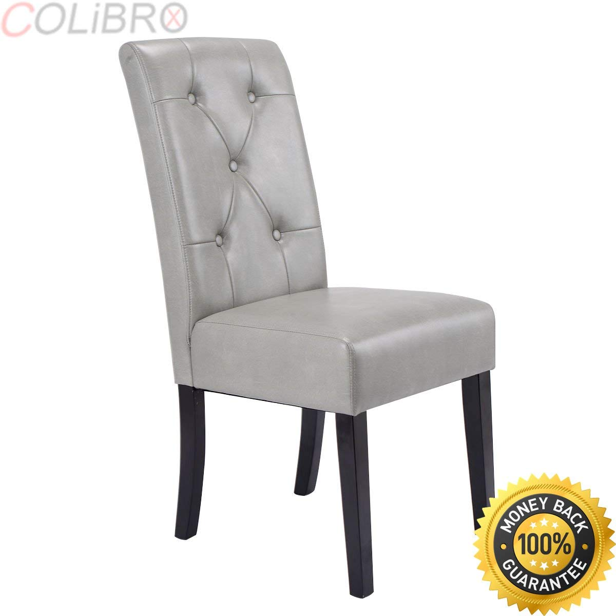 24fc2fc8790a Get Quotations · COLIBROX--Set of 2 Dining Chairs Tufted PU Leather High  Back Armless Accent Home