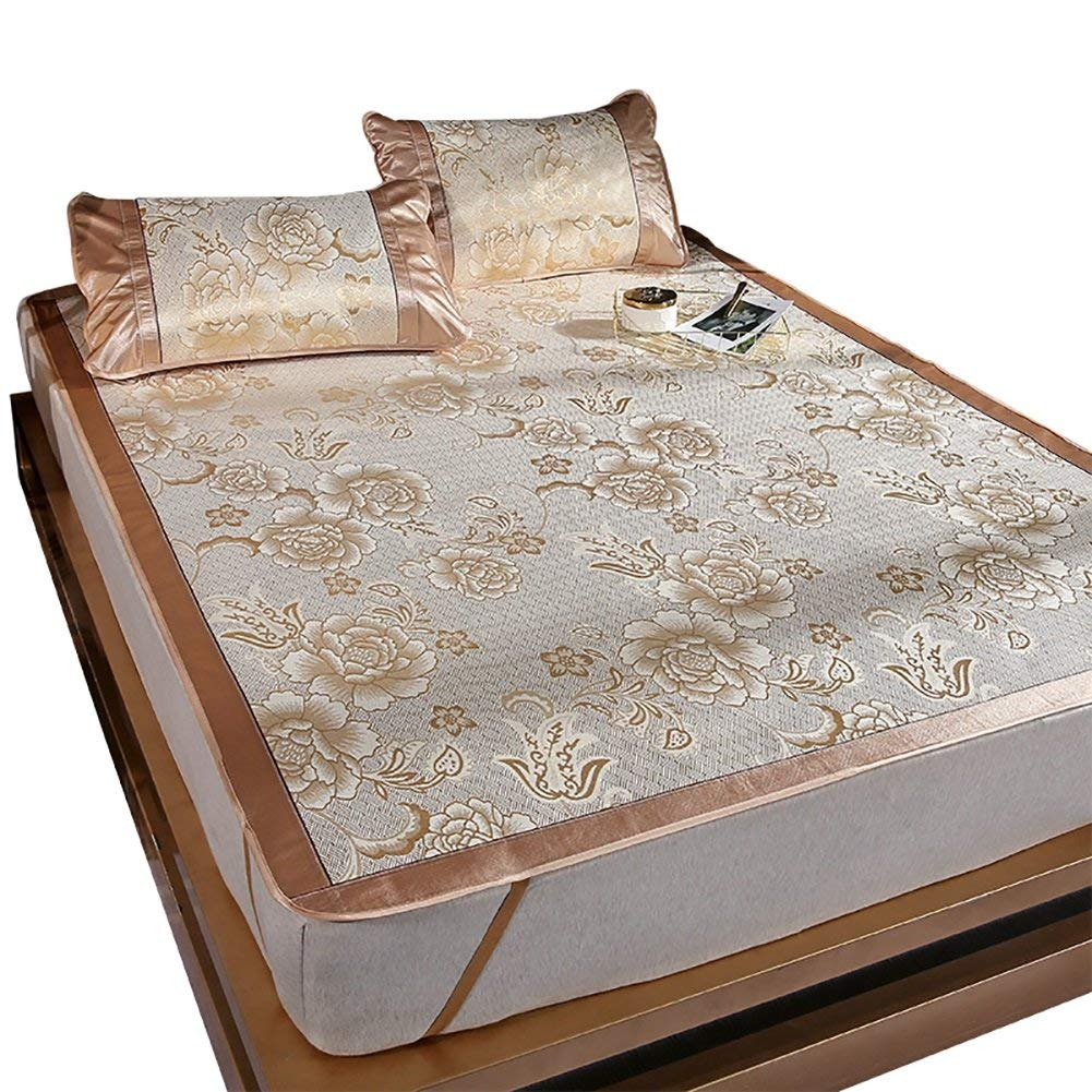 Summer sleeping mat Cool Mattress Ice Silk Mat 3-piece Foldable Air-conditioned Mat Student Dormitory Smooth Mat 0.9m 1m 1.2m 1.35m 1.5m (Color : Gold, Size : 1.2m (4 ft) bed)