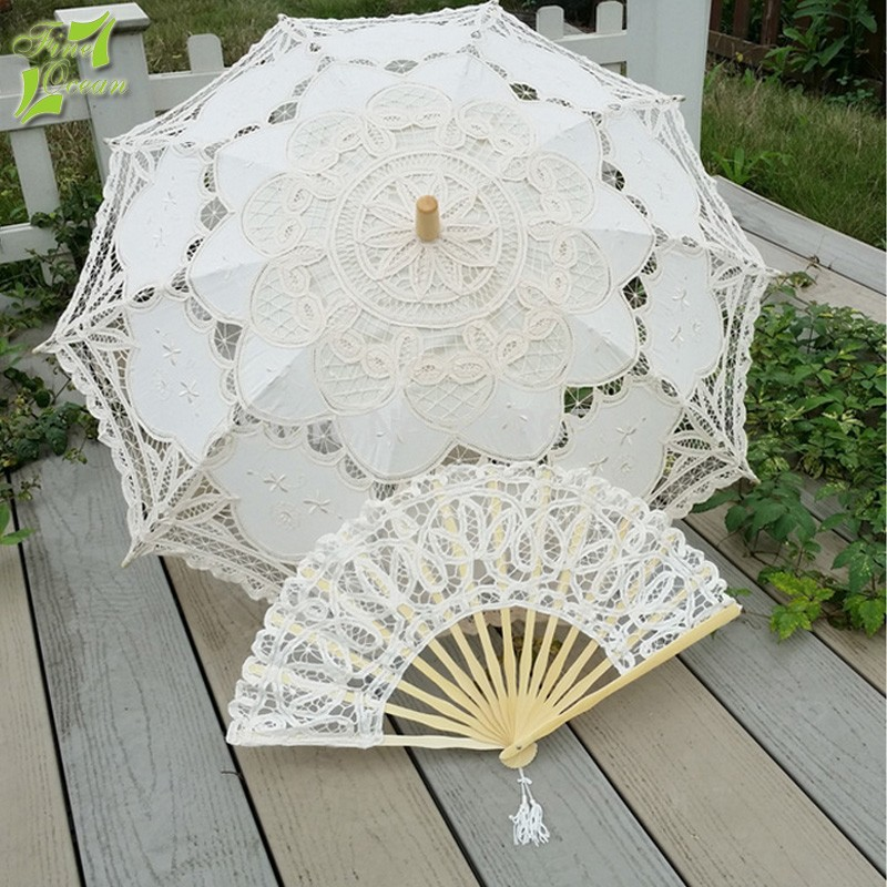Spanish white lady wedding lace parasol umbrella with hand fan
