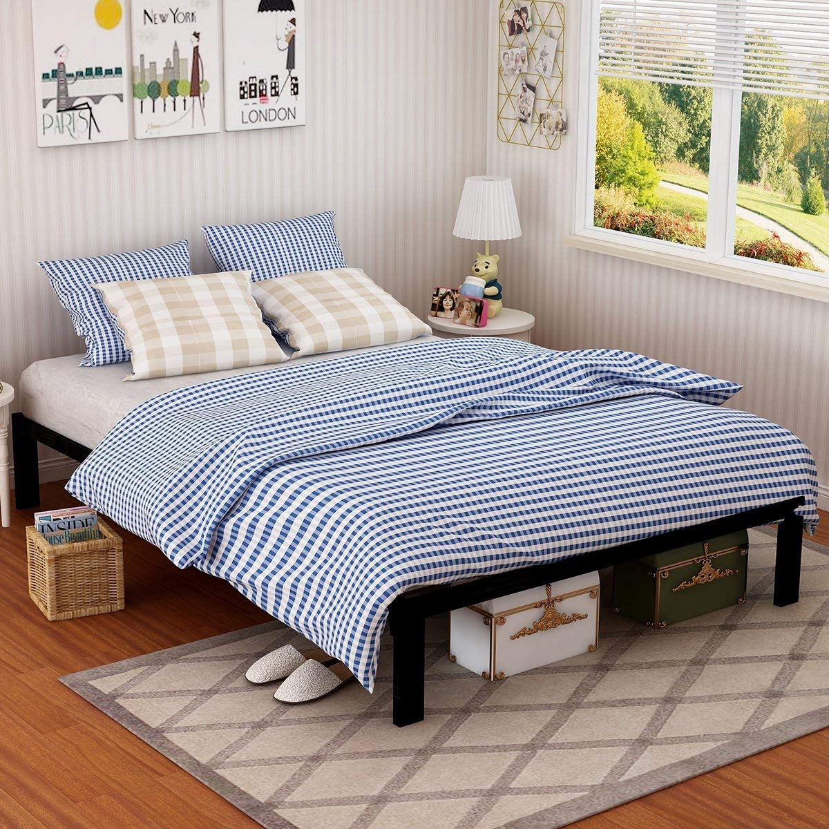 Metal Bed Frame Steel Queen Size Decor Platform Iron Base with Headboard and Footboard Slats Legs Cover Black 629 (Queen)