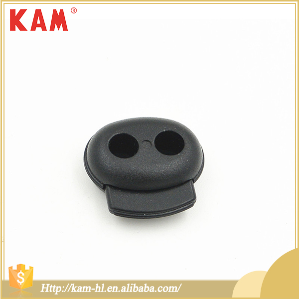 Wholesale garment accessories black string elastic plastic 2-hole stopper