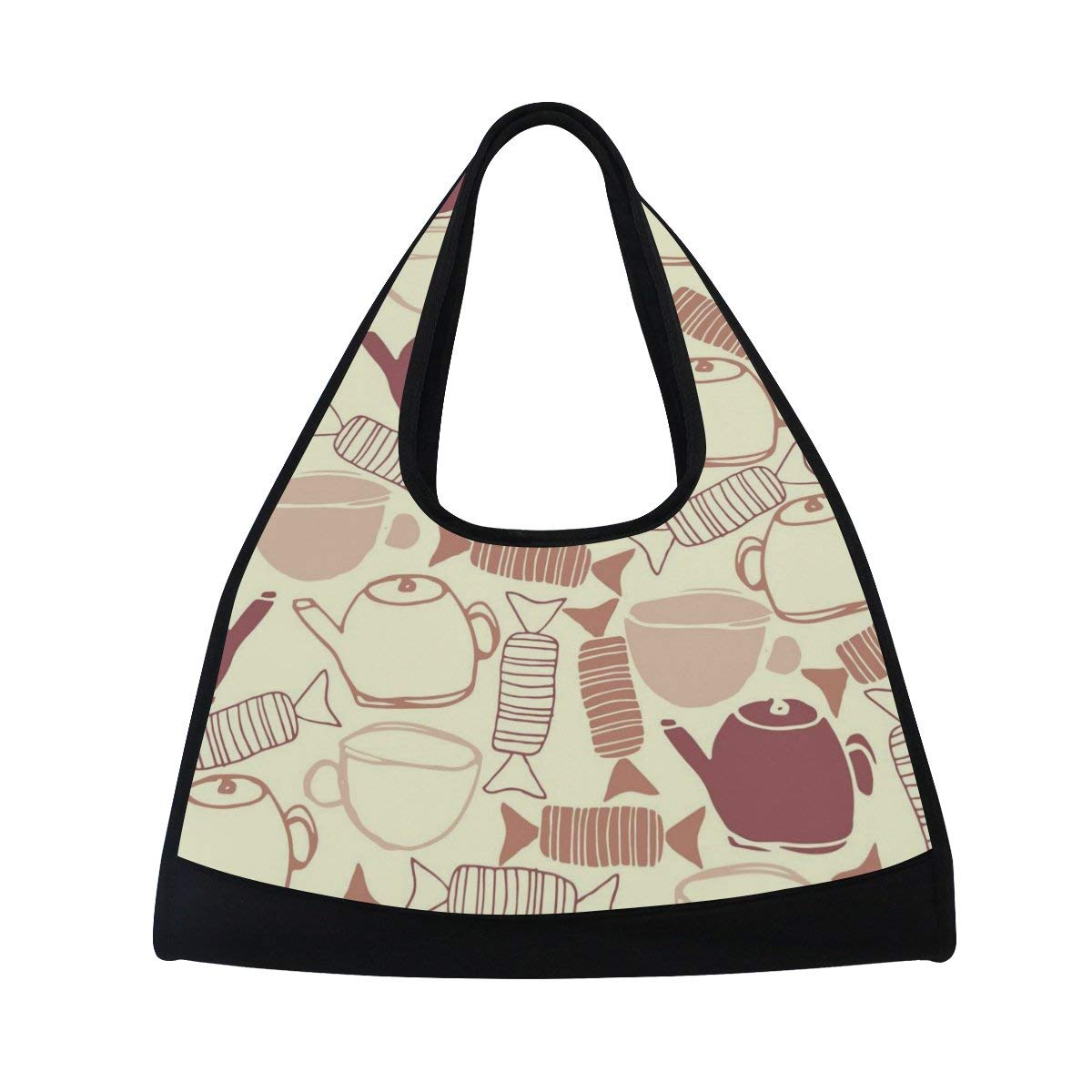 Sport Gym Bag Candy Cup Teapot Pattern Canvas Travel Duffel Bag