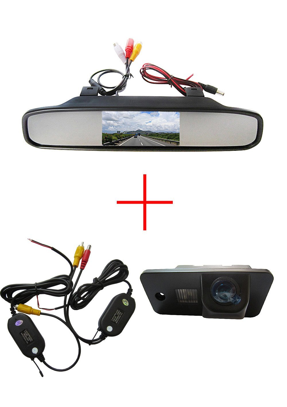 "Wireless CCD Auto Vehicle HD Color Car Reverse Rear View Parking Back Up Camera for AUDI A3 S3 A4 S4 A6 A6L S6 A8 S8 RS4 RS6 Q7,with 4.3"" Screen Car Vehicle Rear view Mirror Monitor for DVD/VCR/Car Reverse Camera(DC 12V / PAL / NTSC / 2 Ways Video Inputs)"