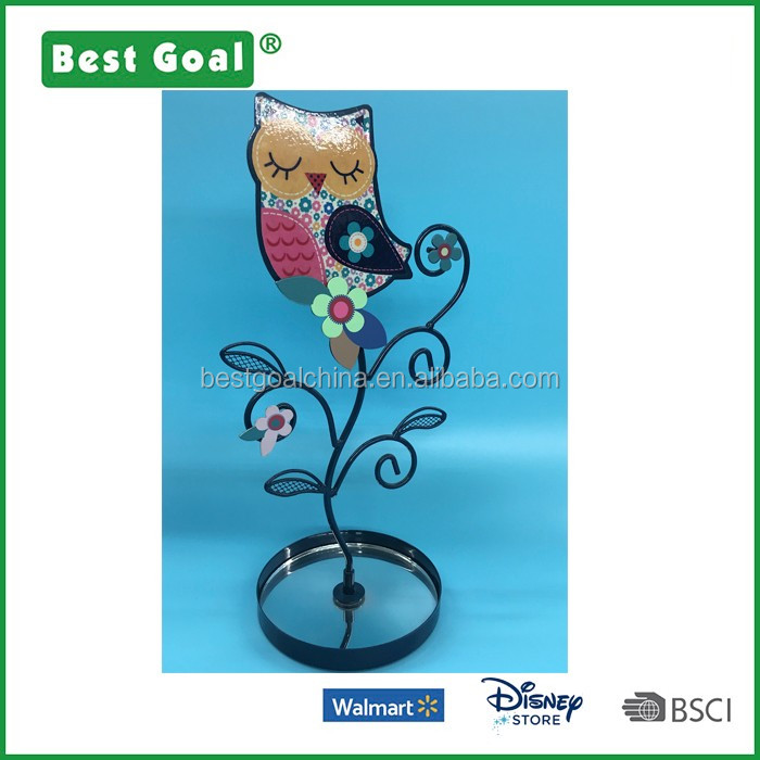 Metal Owl Shape Jewelry Tower Holder with Tray