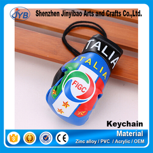 Leather Carabiner Keychain Custom Pu Boxing Glove Key Ring Wholesale