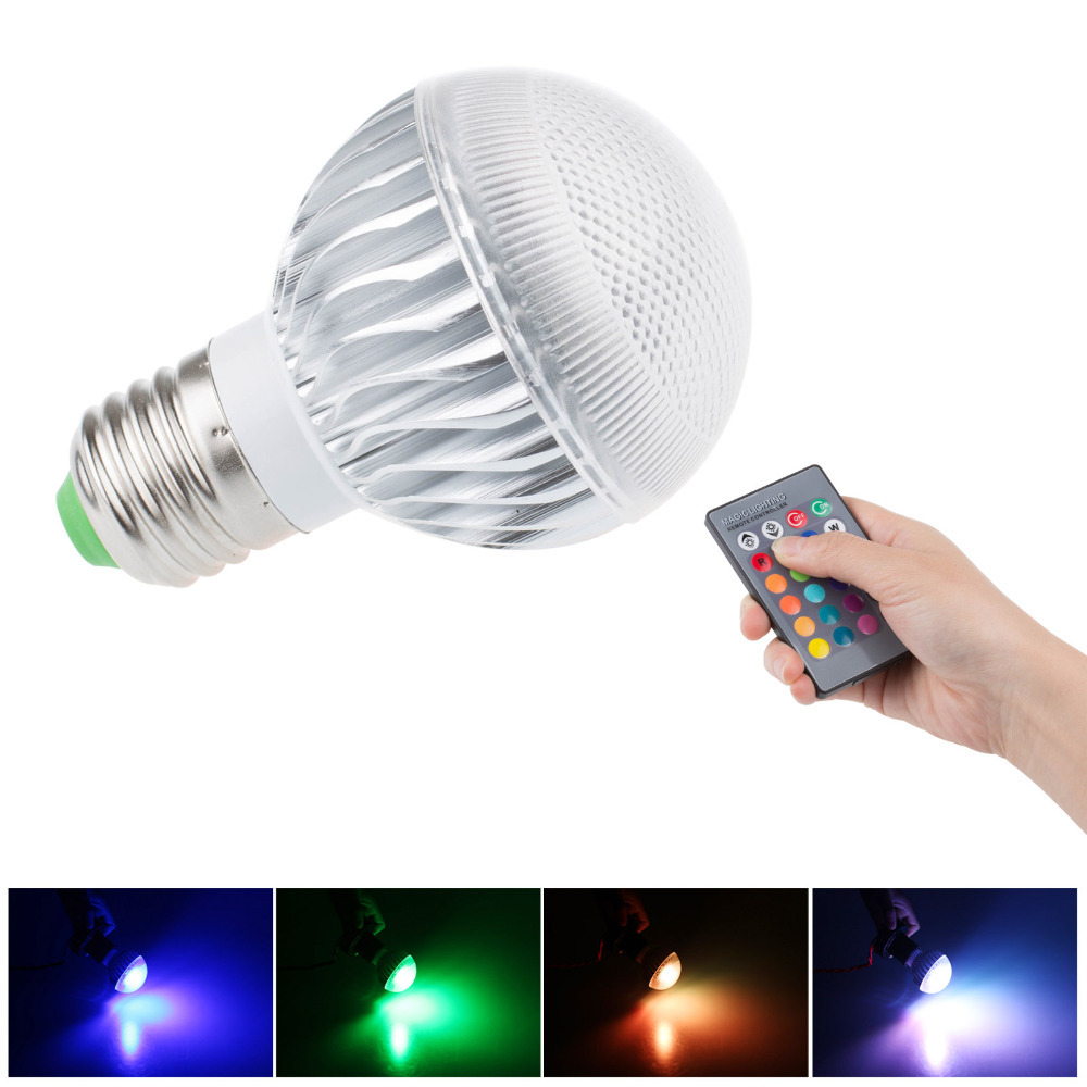 Get Quotations · RGB LED Bulb E27 9W AC 85 265V RGB Led Lamp With Remote  Control Multicolor