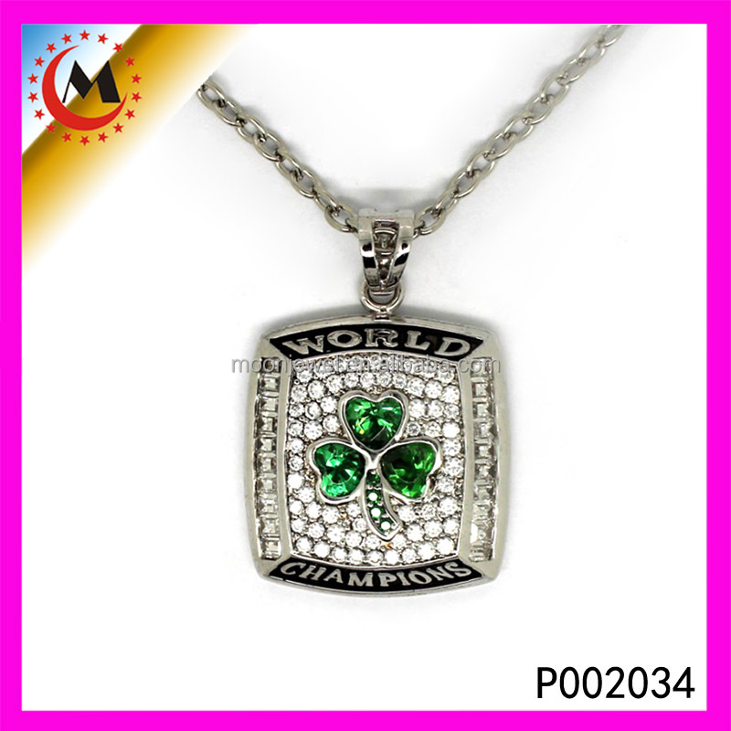 5pcs a lot 2010 Green championship pendant necklace sport jewelry For Men and Women