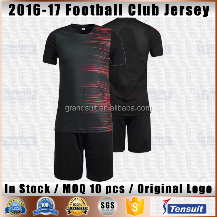 Wholesale cheap soccer team uniforms stock items blank dry fit football jersey set