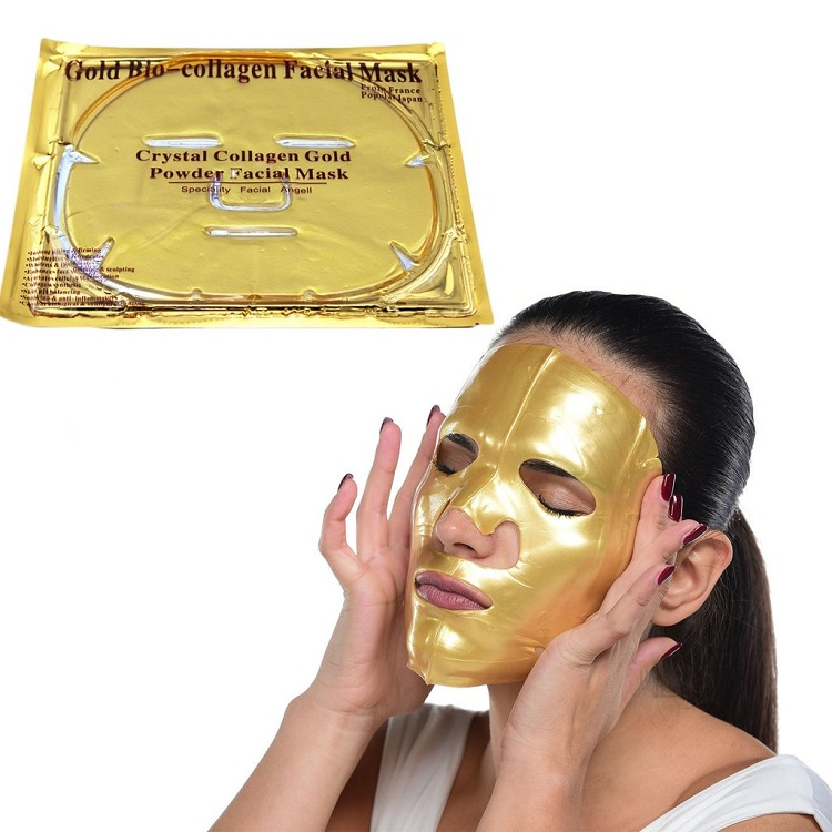 Private Label Collageen Crystal Gezicht 24 k Gold Gezichtsmasker Pure 24 K Gold Sheet Masker Voor Gezicht