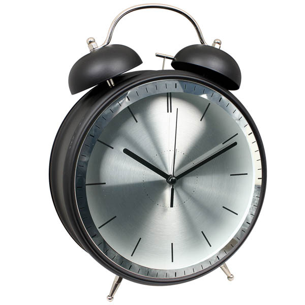 "8"" metal black & silver design twin bell alarm clock/ jumbo twin bell alarm clock/elgin qa twin bell alarm clock silver"