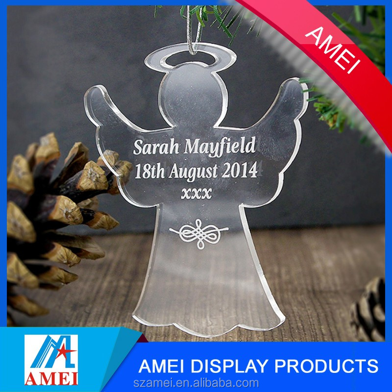 2017 new clear acrylic christmas angel figurines for holiday