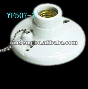 ceramic lamp holder with switch e27
