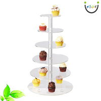 Acrylic Christmas Treats Rack 6 Tier Food Display Stand Plastic Clear Acrylic Round Plates