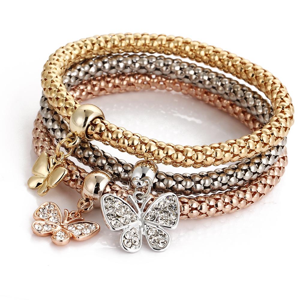 Manufacturers Wholesale Classic Alloy Tricolor Set Stretch Popcorn Corn Chain With Diamond Butterfly Pendant Bracelet
